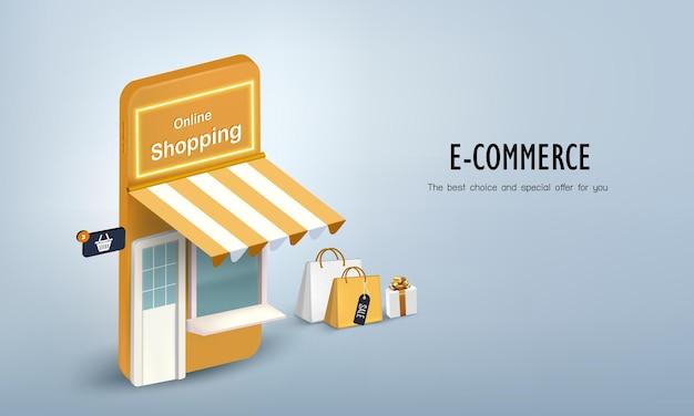 Kupuj na smartfonie z pudełkiem i torbą na zakupy online