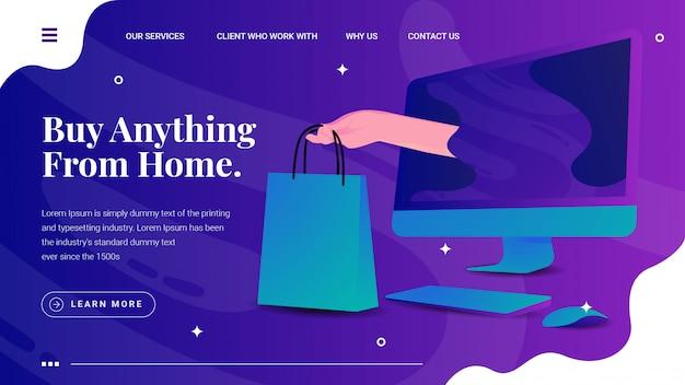 Kupuj online mac monitor z ręką trzymającą torbę na zakupy