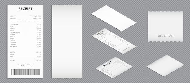Kupuj paragony, czeki papierowe z kodem kreskowym i widokiem perspektywicznym. wektor realistyczny zestaw rachunków zakupu, faktur pustych i wydrukowanych. kontrole zakupów na białym tle