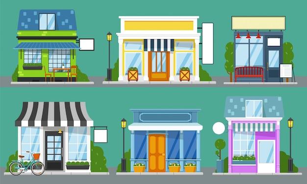 Kupuj z przodu. na białym tle fasady sklepu na zewnątrz z pustymi szablonami znak. witryny sklepowe z uroczą ulicą miasta z drzwiami, oknem, ławką, stołem, latarnią. kup kolekcję pustych wizytówek