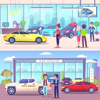 Kupujący i zarządzający centrum samochodowym, salon samochodowy