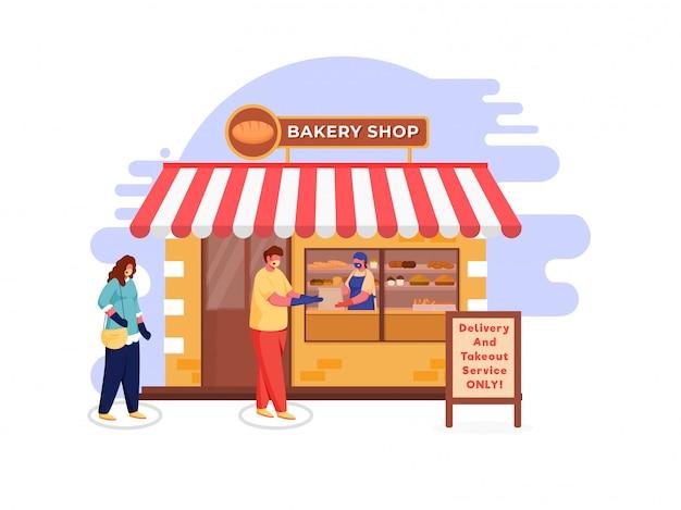 Kupujący noszą maskę ochronną w kolejce przed piekarnią, otrzymując wiadomość z dostawą i usługą na wynos tylko na płycie z podwójną podstawą. unikaj koronawirusa.