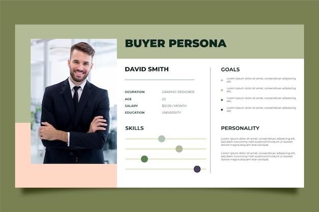 Kupujący szablon infografiki persona ze zdjęciem