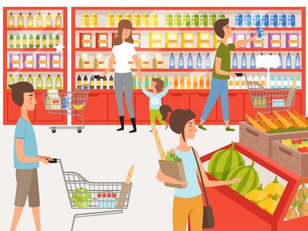 Kupujący w supermarkecie. ilustracje ludzi w pobliżu półek sklepowych