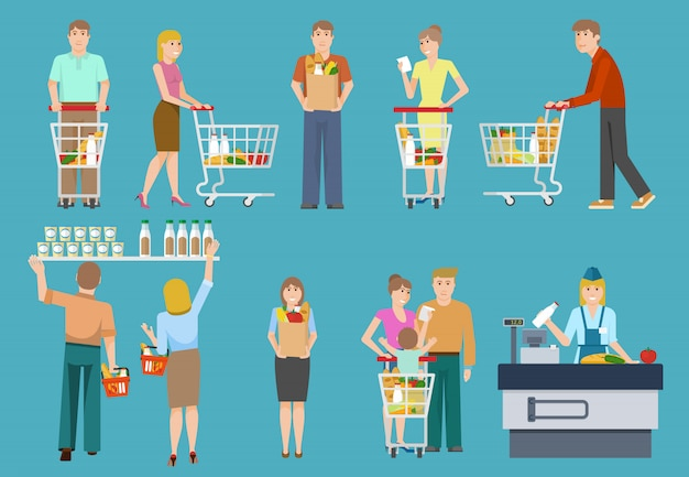 Kupujący w zestawie supermarketu