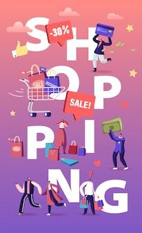 Kupujący zakupy koncepcja zabawy. płaskie ilustracja kreskówka