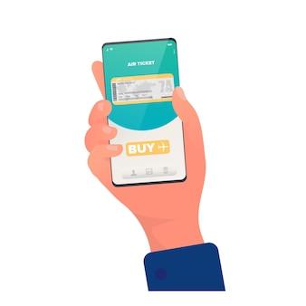 Kupuje bilet przez aplikację. kupowanie biletów online. ręce z bliska telefonu. odosobniony. wektor.