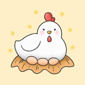 Kura i jajka stylu cartoon ręcznie rysowane