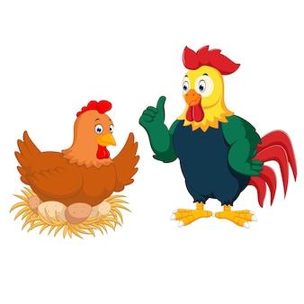 Kura jaja wylęgowe i kogut kreskówka daje kciuk w górę