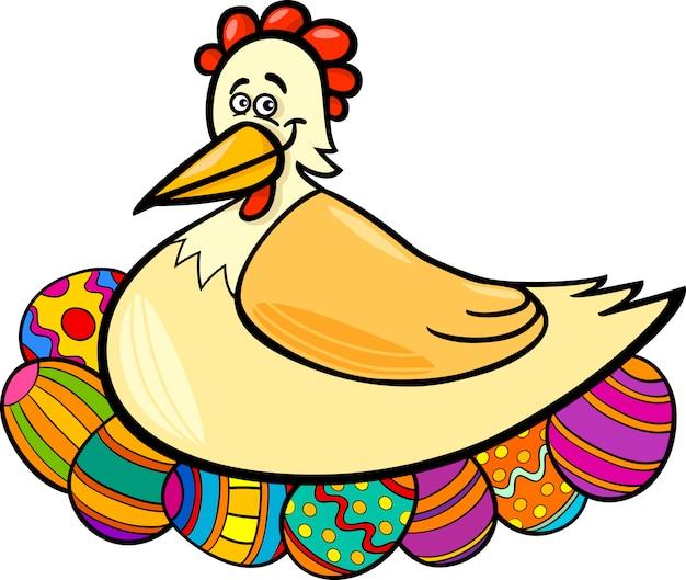 Kura wylęgowych jaja wielkanocne ilustracja kreskówka
