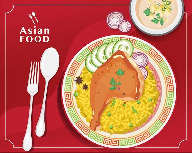 Kurczak biryani, tradycyjna kuchnia indyjska kurczaka biryani, ilustracji wektorowych