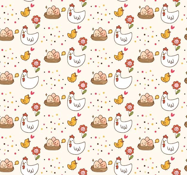 Kurczak i jajko kawaii tło