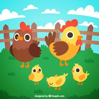 Kurczak i piskląt tle