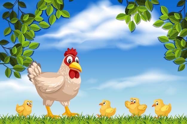 Kurczak i pisklęta w scenach z drewna