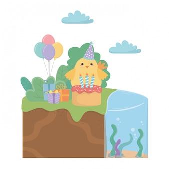 Kurczak kreskówka z okazji urodzin