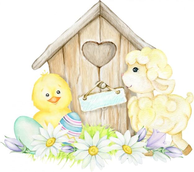 Kurczak, owca, dom, kwiaty, pisanki. wielkanocna akwarela ilustracja