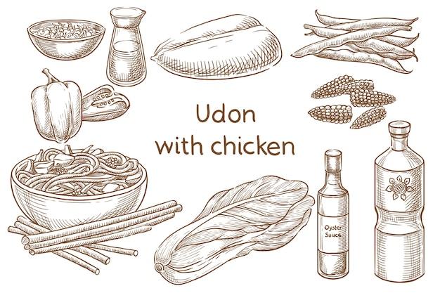 Kurczak udon. japońskie jedzenie. składniki. szkic wektor
