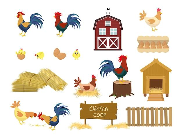 Kurczak w kurniku z ptakami gospodarskimi na białym tle zestaw