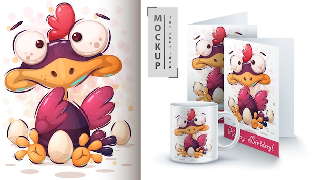 Kurczak z plakatem z jajkiem i merchandisingiem