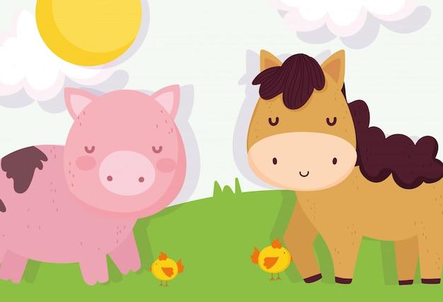 Kurczaki koni i zwierzęta gospodarskie ze świnką łąkową
