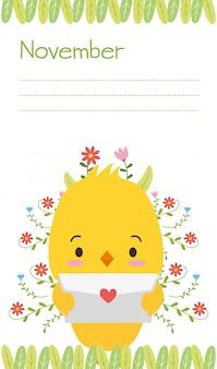 Kurczątko z listem miłosnym, ślicznymi zwierzętami, mieszkaniem i kreskówka stylem, ilustracja