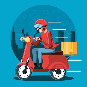 Kurier człowiek usług logistycznych w motocyklu