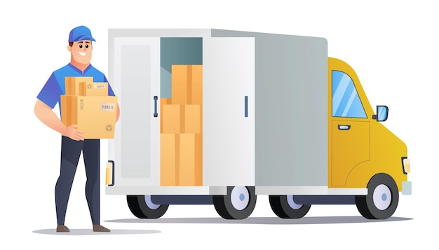 Kurier dostarcza paczki ciężarówką