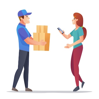 Kurier dostarcza paczki do ilustracji klienta