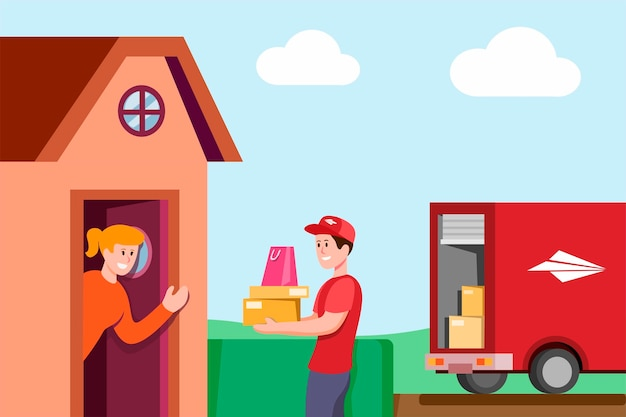 Kurier dostarcza pakunek klient w domowej wiosce z ciężarówką, kurier doręczeniowej usługa ekspresowy pojęcie w kreskówki mieszkania ilustraci