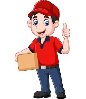 Kurier dostawy kreskówka trzymając pudełka kartonowe