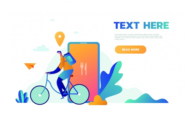 Kurier dostawy rowerów z paczką na plecach. ekologiczny rower miejski zapewniający ilustrację usługową z nowoczesnym pakietem dla rowerzystów. chłopiec dostawy żywności