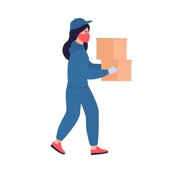 Kurier dziewczyna w ochronnej masce medycznej trzyma w rękach paczki. darmowa dostawa jedzenia.
