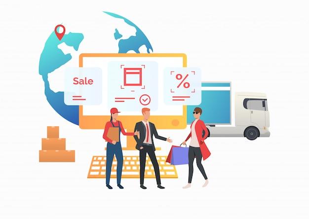 Kurier i agent sprzedaży spotykający się z konsumentem