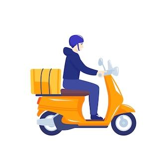 Kurier jazda skuterem, pracownik dostawy na motocyklu na białym tle, wektor