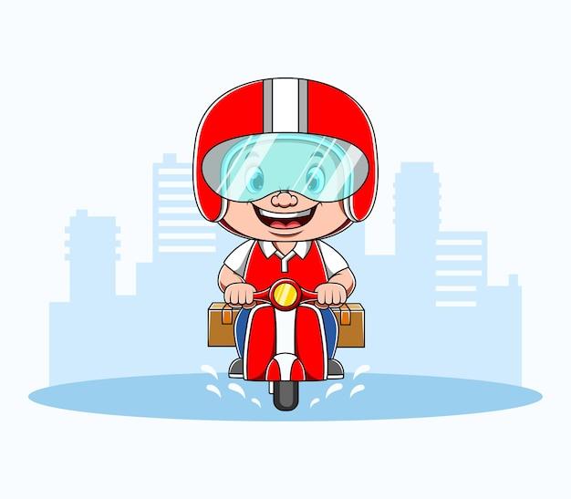 Kurier jeżdżący motocyklem i przynieś dwa opakowania