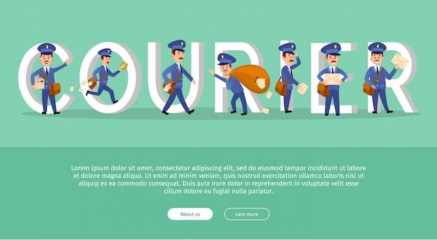 Kurier konceptualny web banner szablon z listonosz cartoon