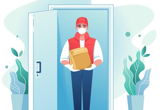 Kurier kreskówka z maską na twarz przy drzwiach z tekturową paczką koronawirus