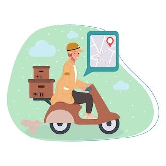 Kurier lub pracownik serwisu internetowego dostawy na skuterze postać z paczkami paczki pudełka