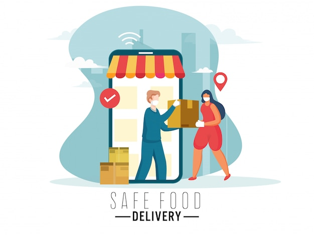 Kurier mężczyzna daje paczkę kobiecie w smartfonie z znaczkiem wyboru na plakat oparty na koncepcji bezpiecznej dostawy żywności.