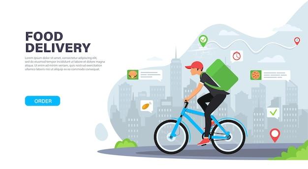 Kurier na rowerze z paczką na plecach dostarczający jedzenie w mieście