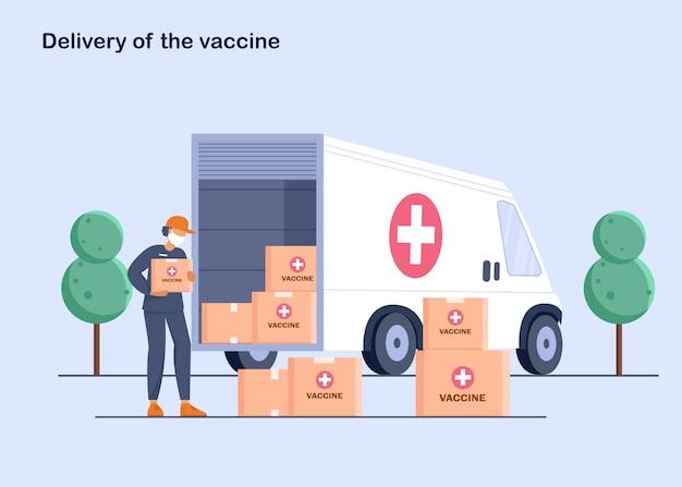 Kurier na zewnątrz ciężarówki z pudełkami szczepionki