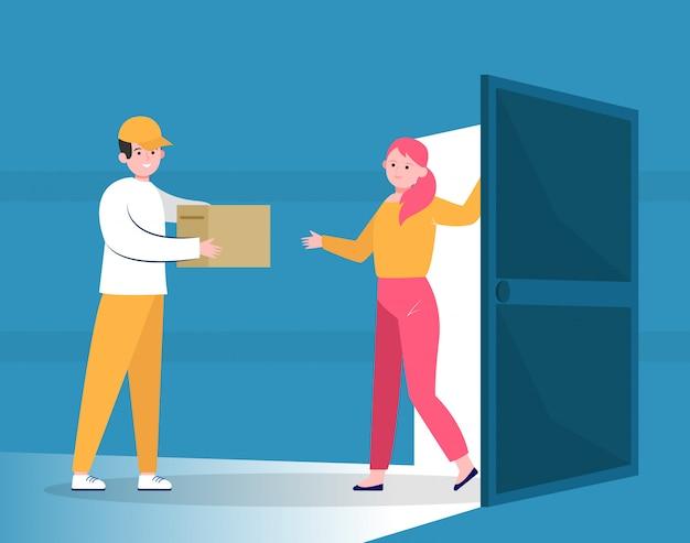 Kurier nadający paczkę klientowi