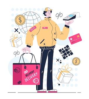 Kurier stojący z pakietem zamówień i terminalem płatności zbliżeniowych