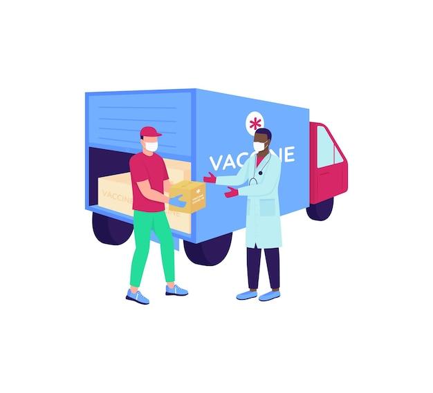 Kurier szczepionkowy z postaciami bez twarzy lekarza w płaskich kolorach