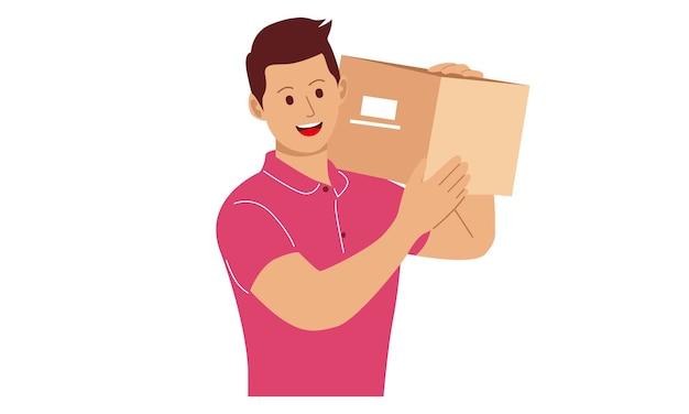 Kurier trzyma pudełko na dostawę