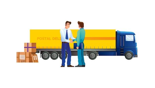 Kurier usługi transportowej odbiera ładunek