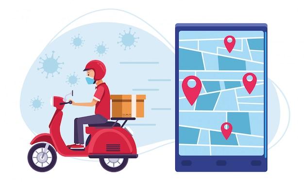 Kurier w dostarczaniu motocykla usługi online