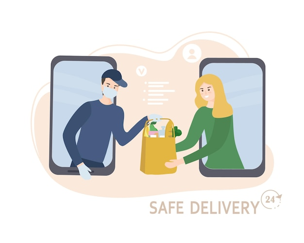 Kurier w masce i rękawiczkach dostarcza jedzenie do domu