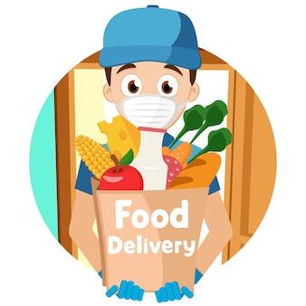 Kurier w masce medycznej i rękawiczkach przy otwartych drzwiach, postać. odznaka dostawy żywności. owidiusz-19