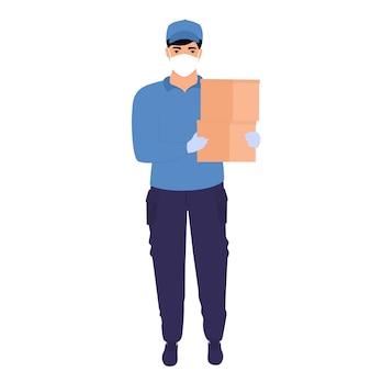 Kurier w ochronnej masce medycznej trzyma paczki w dłoniach. darmowa dostawa jedzenia.